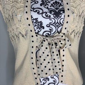 Anthropologie Sweaters - Anthropologie Maeve aviatrix Cardi polka dot bow M